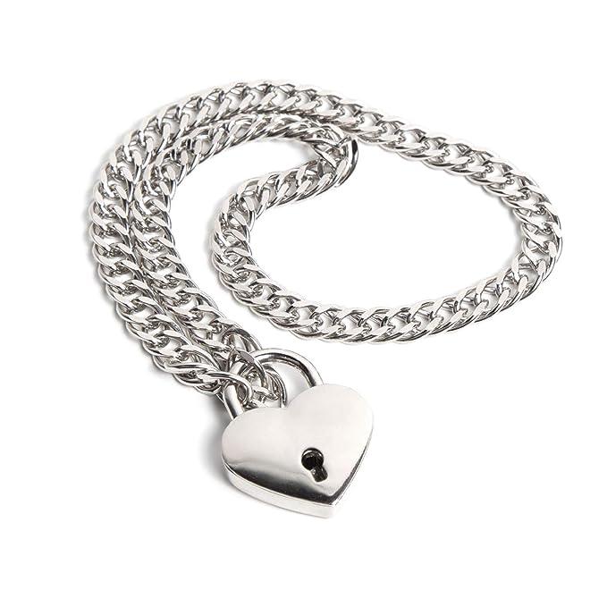 Amazon.com: Collar de cadena y candado de corazón: Clothing