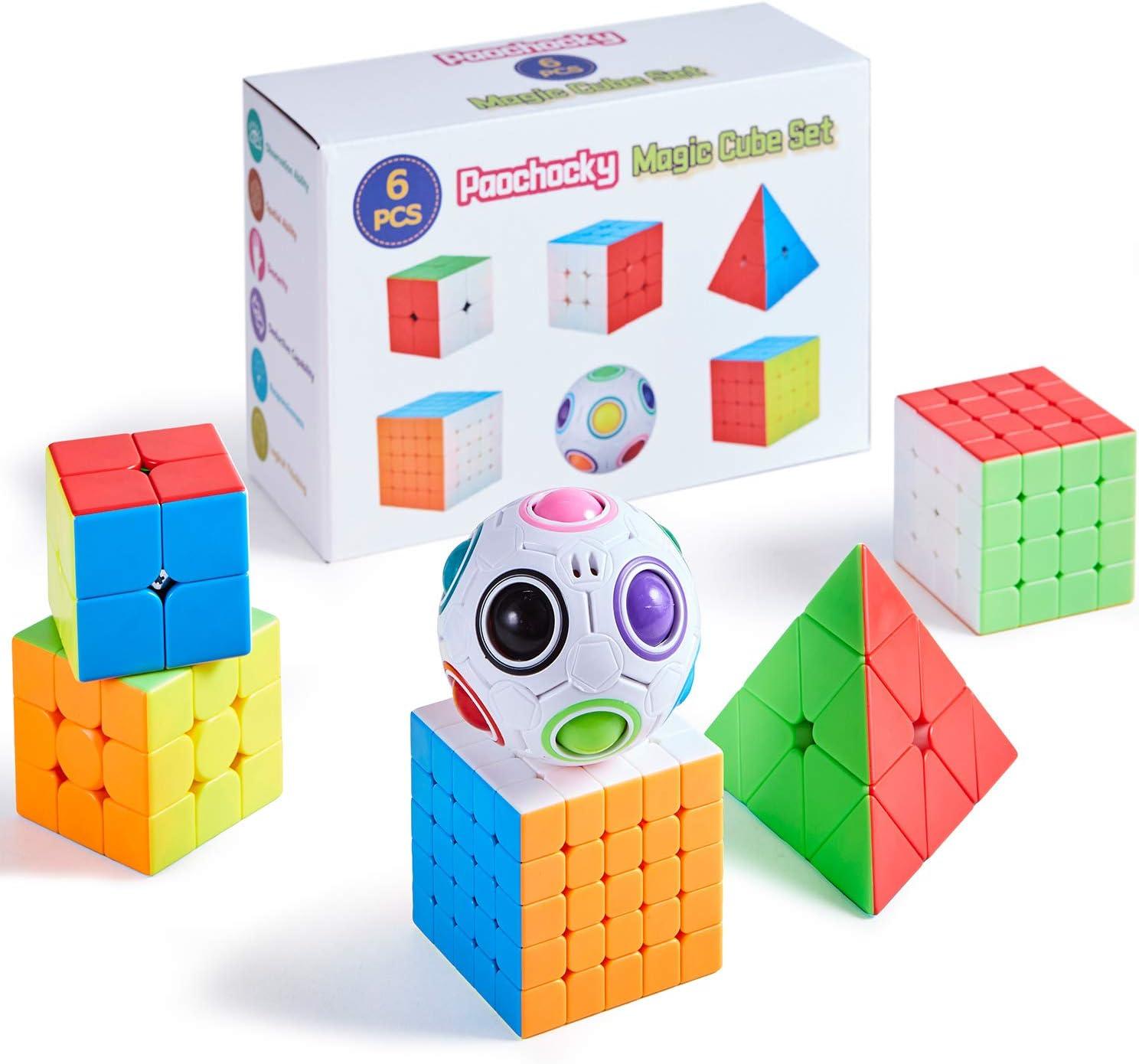 Pachock Cubo Mágico Puzzle Pack, Cubo de la Velocidad Paquete- 2x2 3x3 4x4 5x5 Cubo de la Pirámide Magic Rainball Ball, con Caja de Regalo