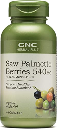 GNC Herbal Plus Saw Palmetto Berries 540mg, 100 Capsules, Supports Healthy Prostate Health