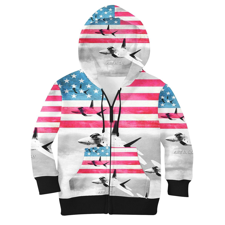 Air Force USA USAF Kids Zip Up Hoodie Unisex