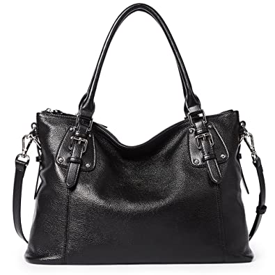 BOSTANTEN Women s Leather Handbags Tote Shoulder Purse Top-handle Crossbody  Bag Black 1f92caf3c78c2