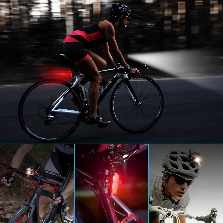 Juego de Luces para Bicicleta, Juego de Lámparas LED para Bicicleta ITSHINY Recargable e Impermeable - Combinaciones de Faros Delanteros y Luces Traseras Superbrillantes Fáciles de Instalar para Niños Hombres Mujeres Linterna de Seguridad p