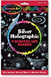 Melissa & Doug Scratch Art Silver Holographic Boards - 4 Boards, Stencil Sheet