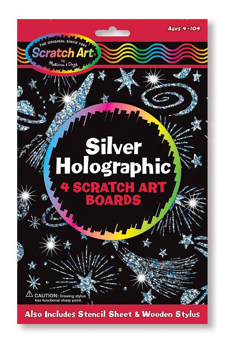 Melissa & Doug Scratch Art Silver Holographic Boards - 4 Boards, Stencil Sheet 5803