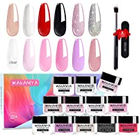 Wakaniya 14pcs Dip Powder Nails Color Set-12 Nude Pink White Clear Glitter Colors Dipping Powder Nails System For DIY…