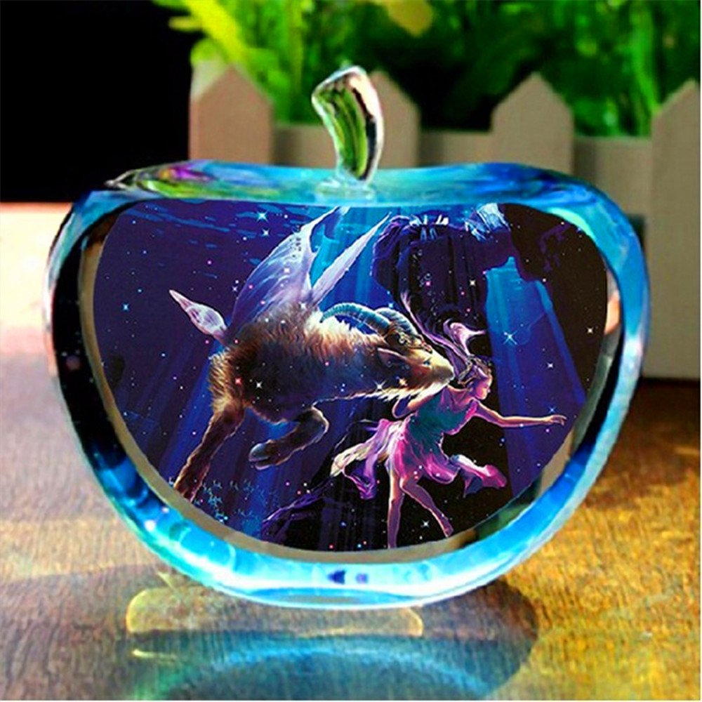12 constellation Clear Rare Crystal Glass Apple Model Figurines Paper weights natural stones and minerals Photo Customized Crystals For Home Decor (Aquarius) taiyuan