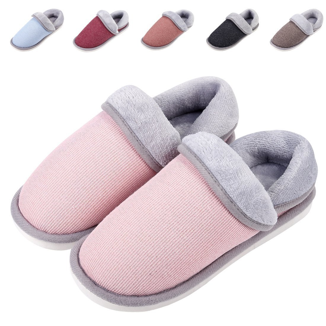 Leisurely Pace Women Indoor Winter Warm Home Slippers Comfort Cotton Non Slip Closed Back House Shoes