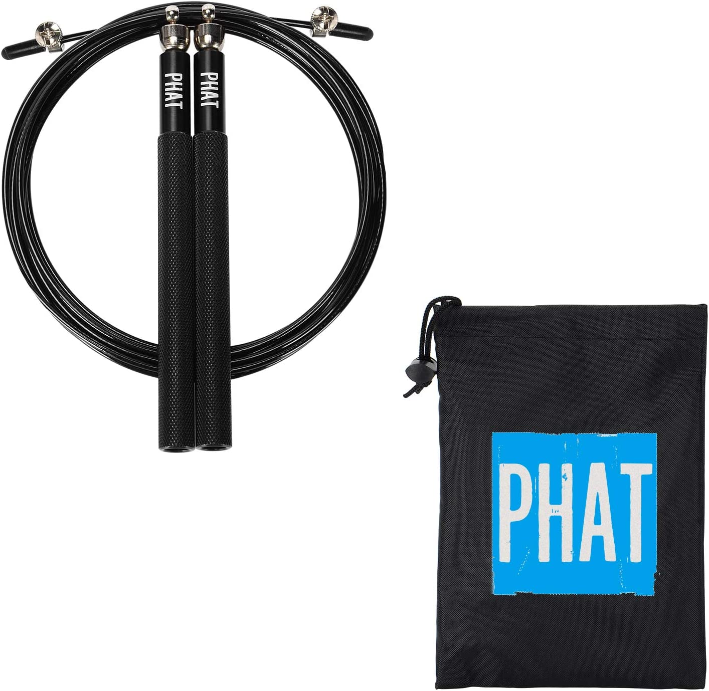 PHAT/™ Jump Rope /& Skipping Rope Adjustable to All Height Black 360/° Swivel Ball Bearing Martial Arts or Just Staying Fit Endurance Workout for Boxing