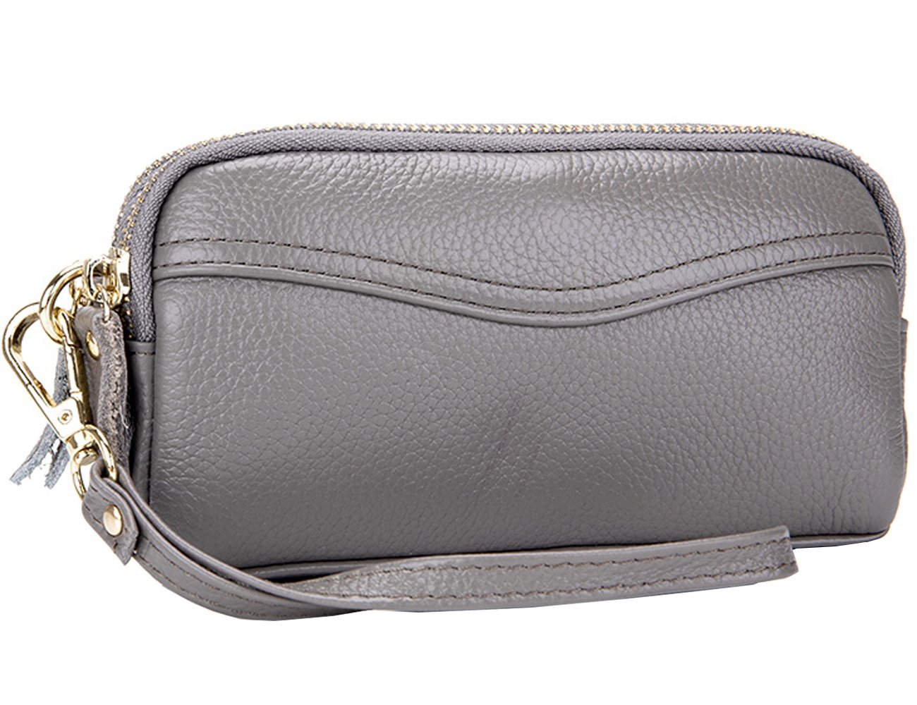 iSuperb Genuine Leather Wristlet Purse Dual Zipper Wallet Clutch Bag Cell Phone Handbag for Women 6.69 x 3.94 x 1.18 inch (Black)