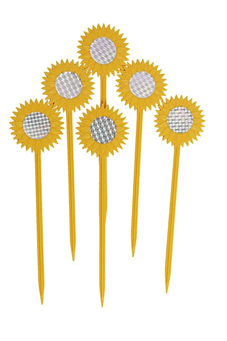 Foci Cozi Bird Repellent Discs Reflective Sunflower Garden Stakes   Pest  Repellent (6 Pack)