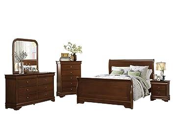 Amazon.com: Addler Louis Philippe 5PC Bedroom Set Queen Sleigh Bed ...