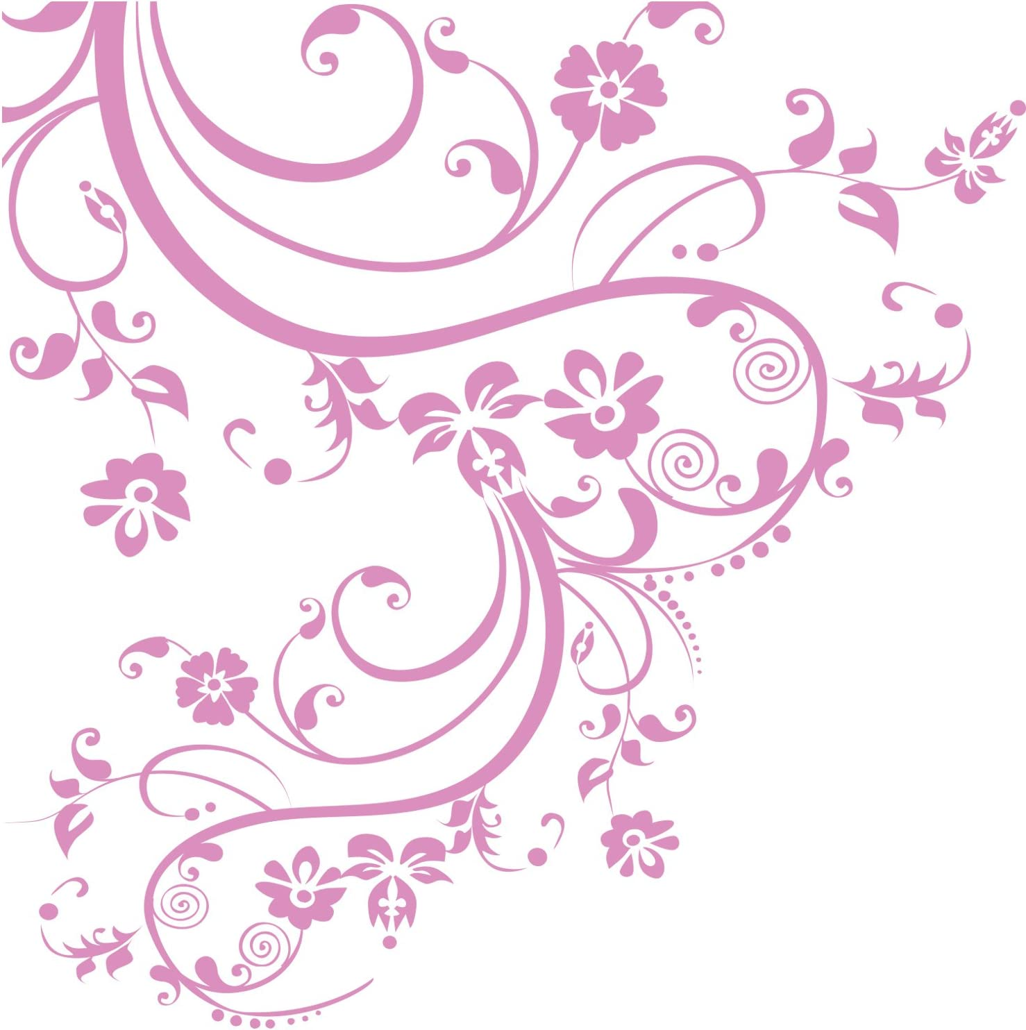 Amazon Com Soft Pink Color Swirl Flower Floral Wall Decal Design