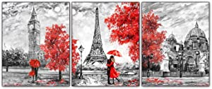 """Black and White Paris Posters Art Painting Set of 3 (8""""X10"""" Canvas Picture) Red Paris Theme Eiffel Tower London Big Ben Tower Wall Art Decor for Girls' Bedroom or Bathroom Art Paints Decor Unframed"""