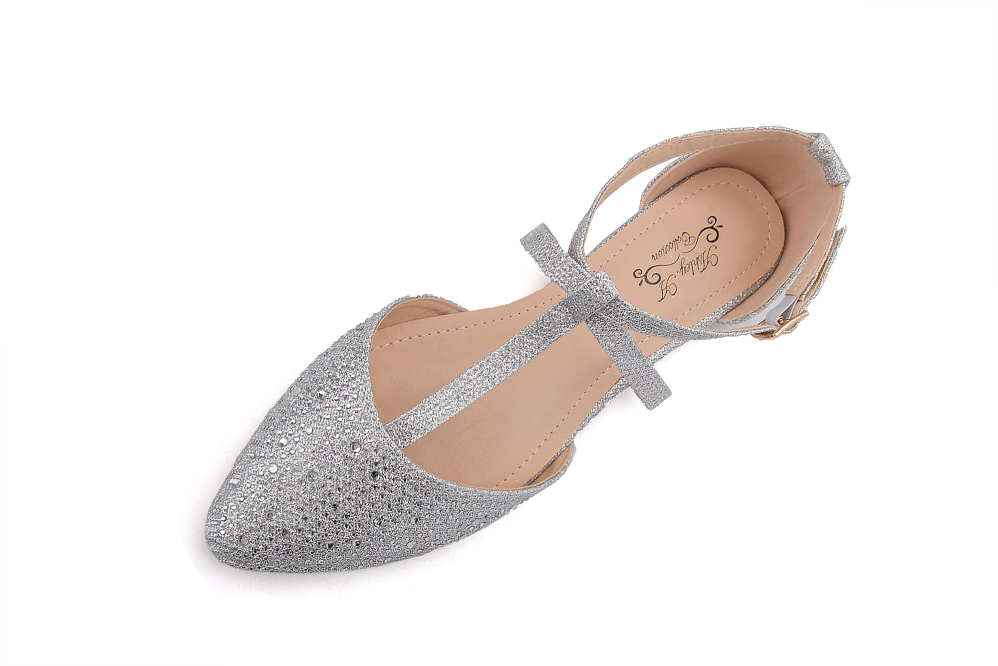 Ashley A Collection(Laurel Womens Pointed Toe Ankle Wrap T-Strap D'Orsay Flats,SILVER6
