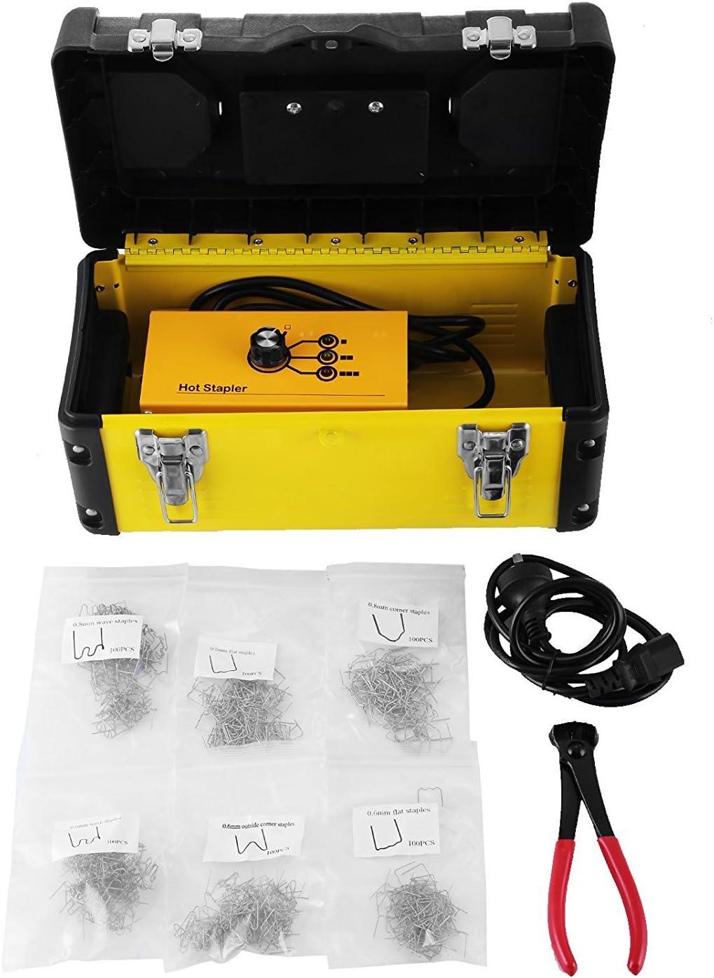 Beyondlife máquina de soldadura de reparación de plástico Hot stapler Tool Gun Kit para parachoques de reparación de plástico con caja de almacenaje de 600 grapas y tijeras