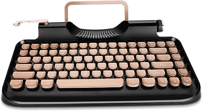 RYMEK Máquina de escribir estilo mecánico con cable y teclado inalámbrico con soporte para tableta, conexión Bluetooth (negro)