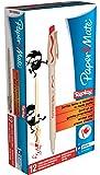 Papermate Replay - Bolígrafo borrable con goma de borrar, punta media (12 unidades), color rojo
