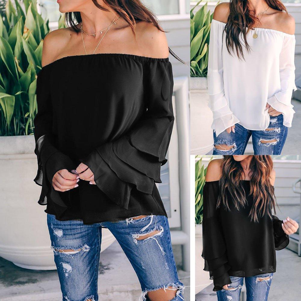Niña otoño fashion,Sonnena ❤ Blusa casual mujer fuera del hombro Camisetas de manga larga Blusa: Amazon.es: Hogar