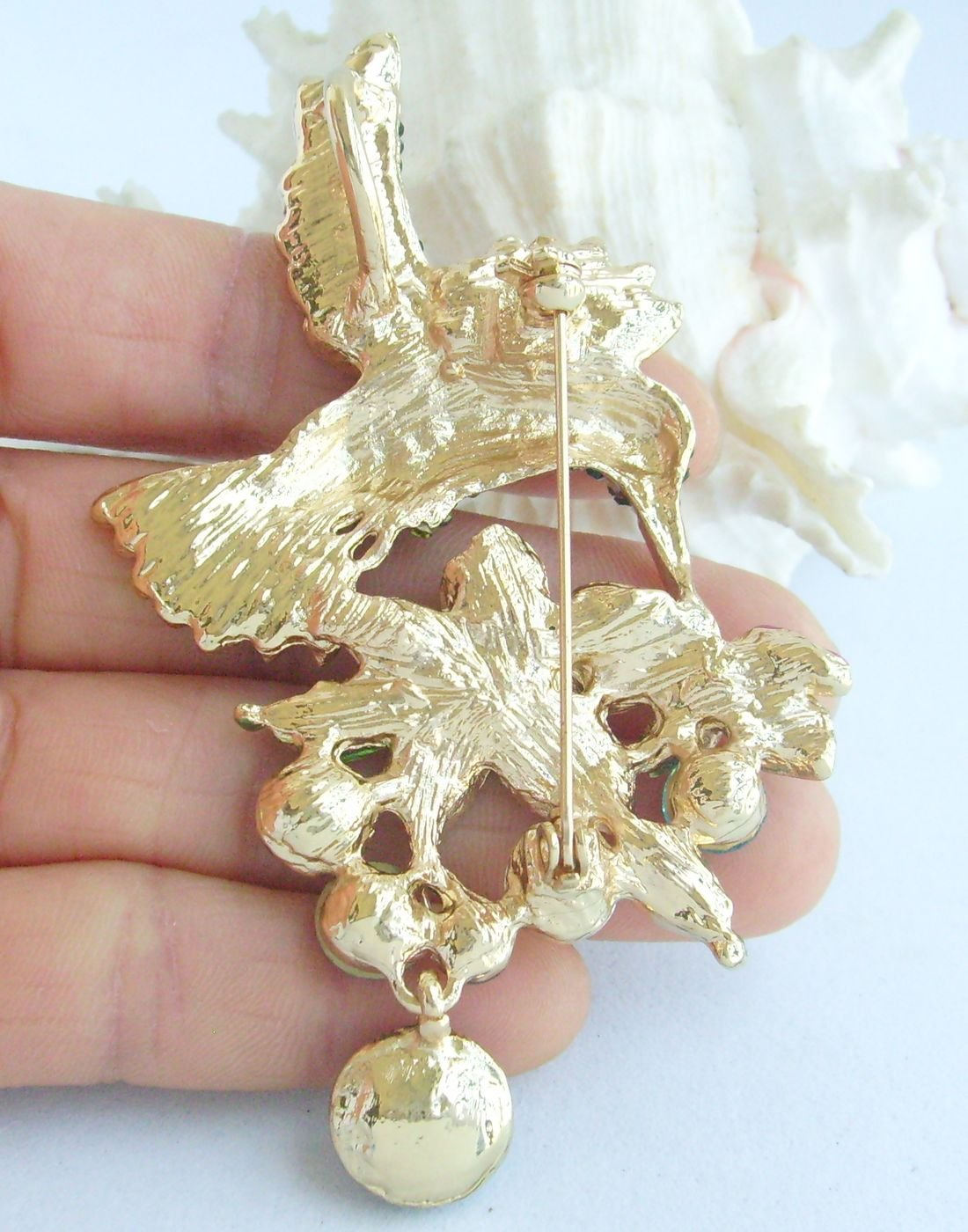 Sindary Pretty 3.54'' Animal Pendant Hummingbird Brooch Pin Rhinestone Crystal BZ6385 (Gold-Tone Red) by Animal Brooch-Sindary Jewelry (Image #5)
