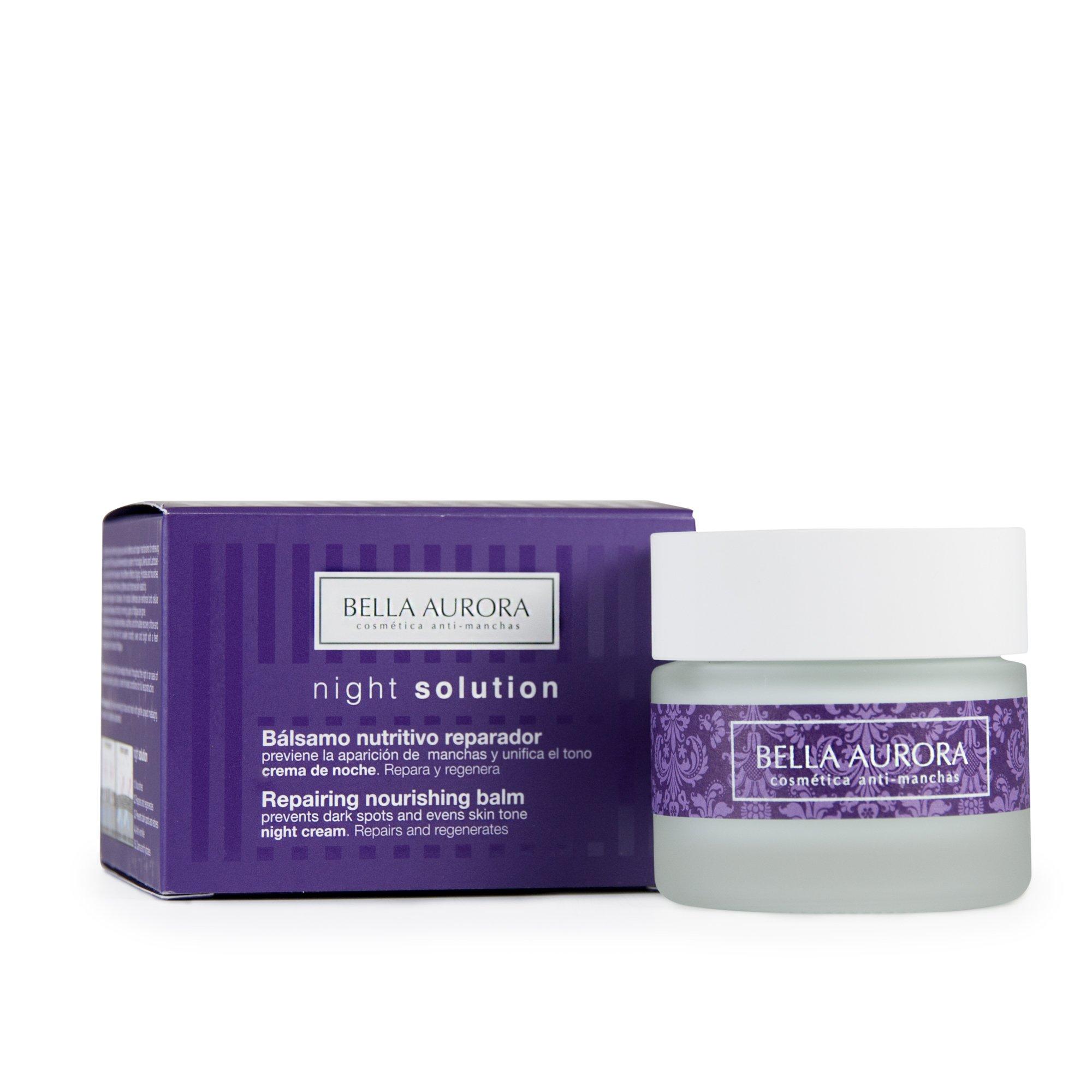 Bella Aurora Night Solution Bálsamo Nutritivo y Reparador Anti-Arrugas Crema Facial Hidratante de Noche