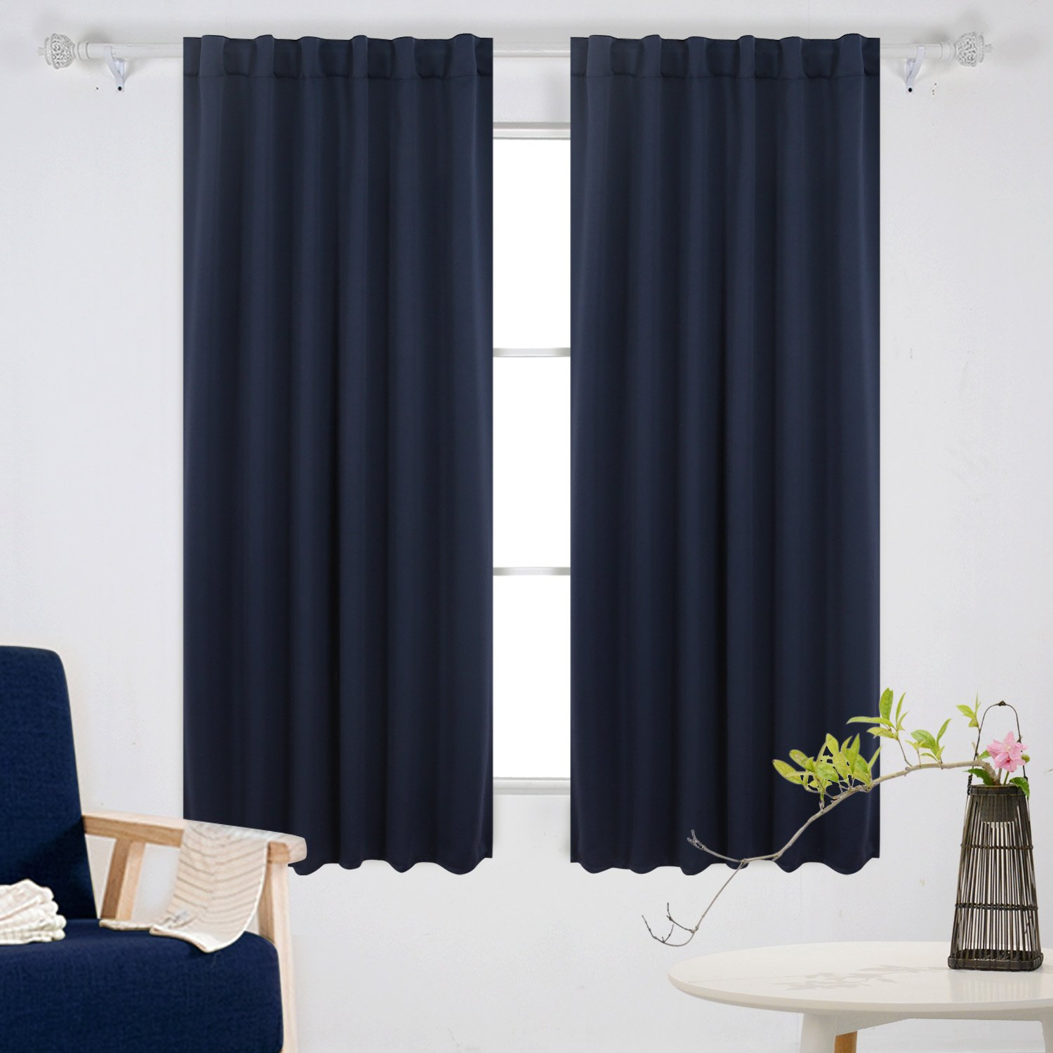 Deconovo Solid Back Tab and Rod Pocket Curtains Blackout Curtains Thermal