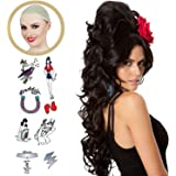 ALLAURA Long Hair Beehive Wig – Amy Winehouse Costume, Elvira Wig – Long Black Wigs