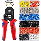 Crimper Plier Set, Preciva 0.25-10mm² Self-adjustable Ratchet Wire Crimping Tools with 1200 Wire Terminal Crimp Connector Insulated and Uninsulated Wire End Ferrules