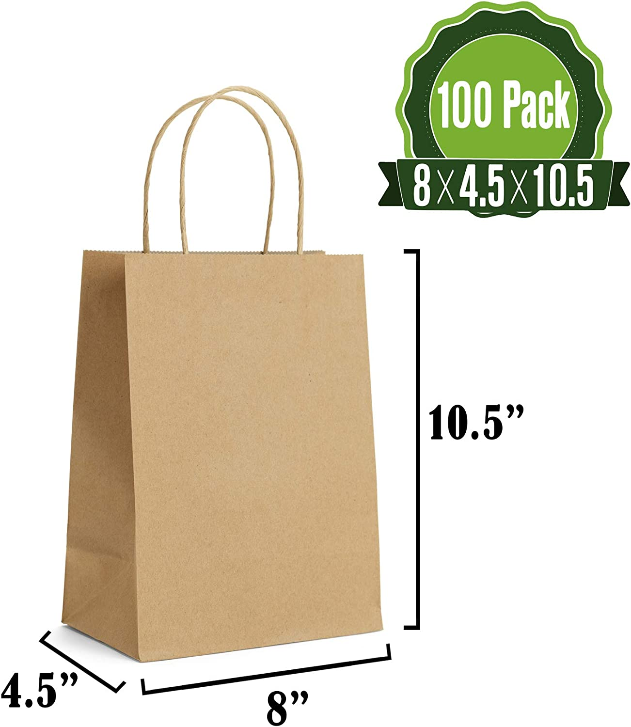 Brown Kraft Paper Gift Bags Bulk with Handles 8 X 4.5 X 10.5 [100Pcs]. Ideal for Shopping, Packaging, Retail, Party, Craft, Gifts, Wedding, Recycled, Business, Goody and Merchandise Bag