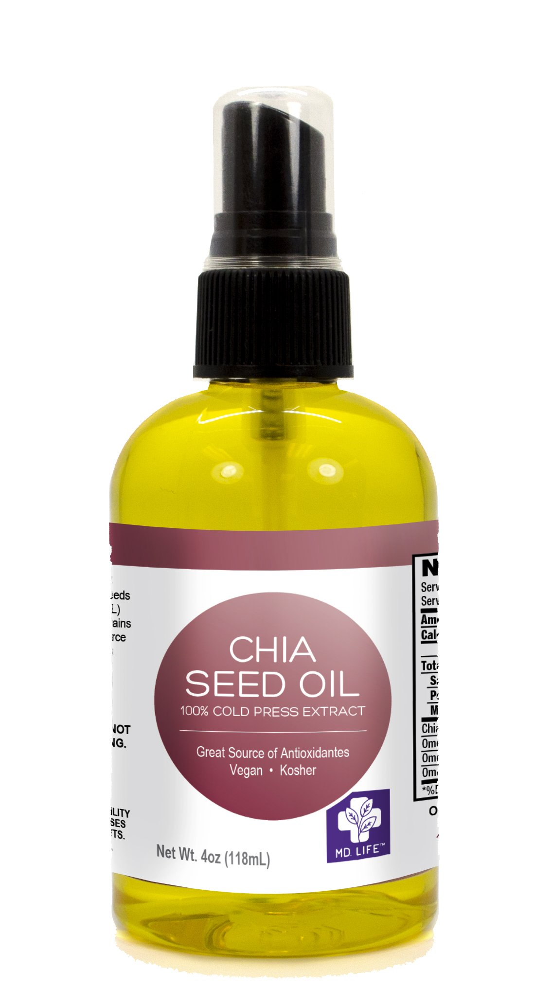MD.Life Chia Seed Oil 4 oz Compare to Foods Alive Chia Seed Oil