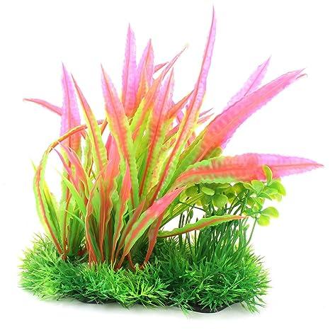 sourcing map Acuario Pecera plástico Ornamento vegetal Agua Viva pasto decoración tricolor