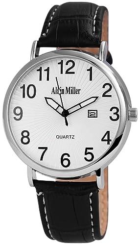 Alain Miller - Reloj de Pulsera analógico para Hombre (Correa de Piel y Mecanismo de Cuarzo), Color Plateado y Negro: Amazon.es: Relojes