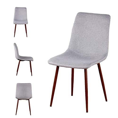 Set of 4 Kitchen Dining Chairs Easily Assemble Modern Fabric Cushion Seat Chair w Metal Legs Fabric Cushion Side Chair