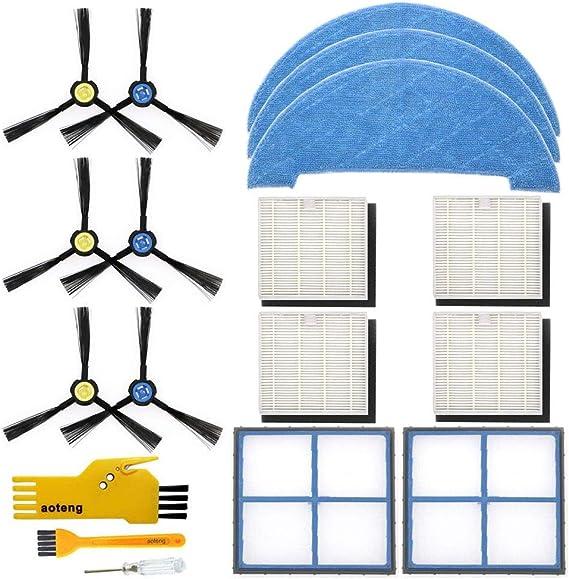 Kit de accesorios para el robot aspirador Ilife V8S V8S X750 X785 V80 Paquete de piezas de repuesto del filtro primario, filtro Hepa, cepillo lateral y trapeador: Amazon.es: Hogar