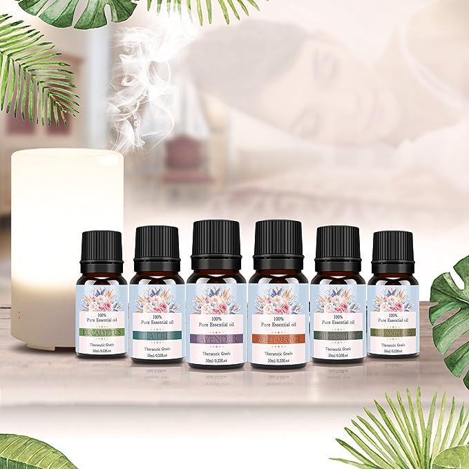 Aceites Esenciales Set, Fragancias para difusor y aromaterapia, 6 ...
