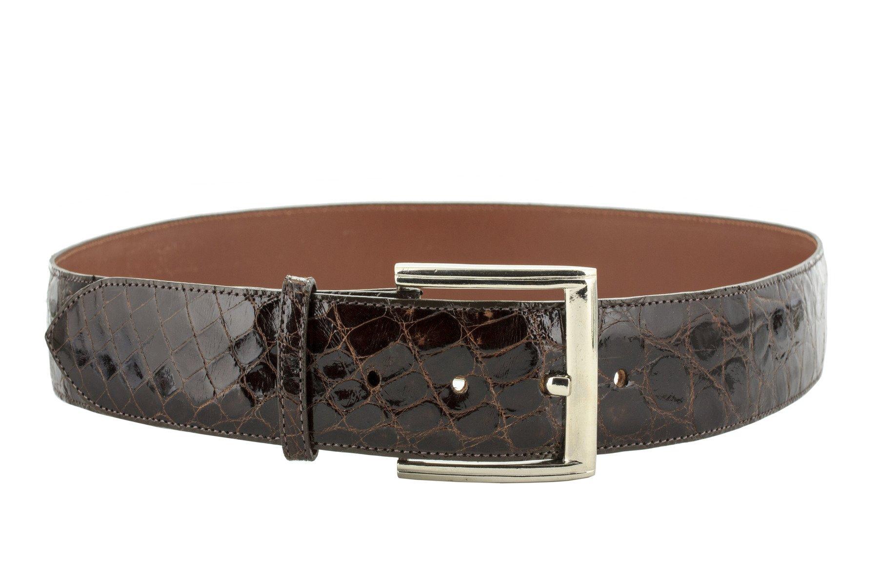 El Presidente - Men's Brown Genuine Crocodile Belly Skin Leather Dress Belt 40 by El Presidente (Image #3)