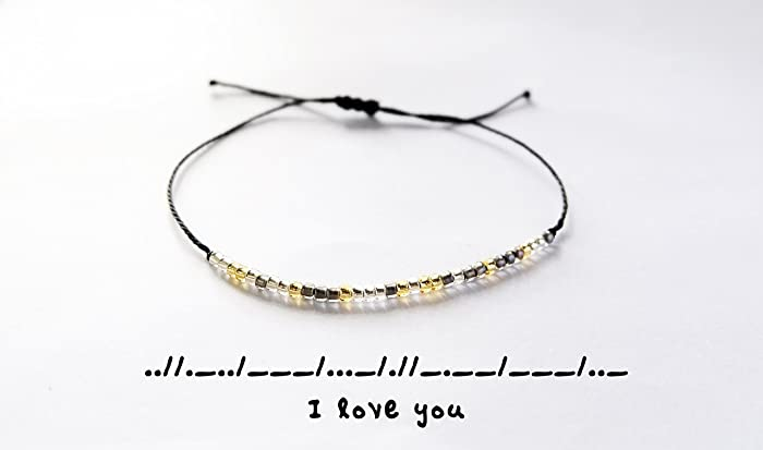 Amazon i love you morse code bracelet personalized love i love you morse code bracelet personalized love bracelets custom morse code bracelet m4hsunfo
