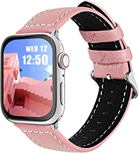Fullmosa Compatible Apple Watch Band Leather 42mm 44mm 38mm 40mm for iWatch SE & Series 6/5/4/3/2/1,42mm/44mm Pink + silver buckle