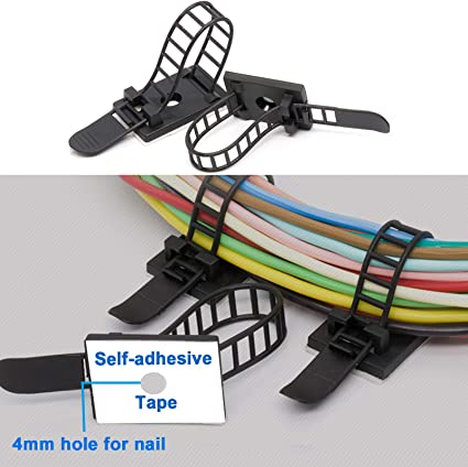 10Pcs Durable Cable Mount Clips Self-Adhesive Desk Wire Organizer Cord Holder HS