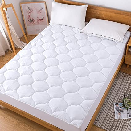 Cool Mattress Pad,Down Alternative Quilted Mattress Protector,Hypoallergenic Breathable Fitted Sheet Mattress Cover,King Size (King)
