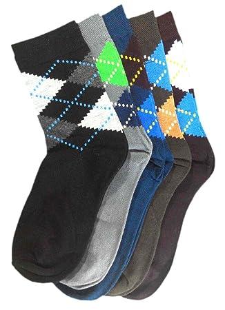 possec Contrast – Pack de calcetines de rombos de algodón de hombre de 5