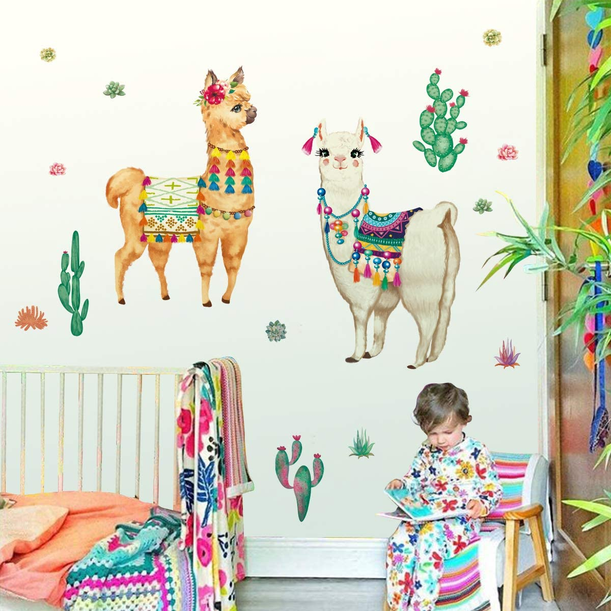 decalmile Large Llama Wall Decals Tropical Cactus Plants Wall Stickers Baby Nursery Kids Bedroom Living Room Wall Decor (H: 24 Inches)