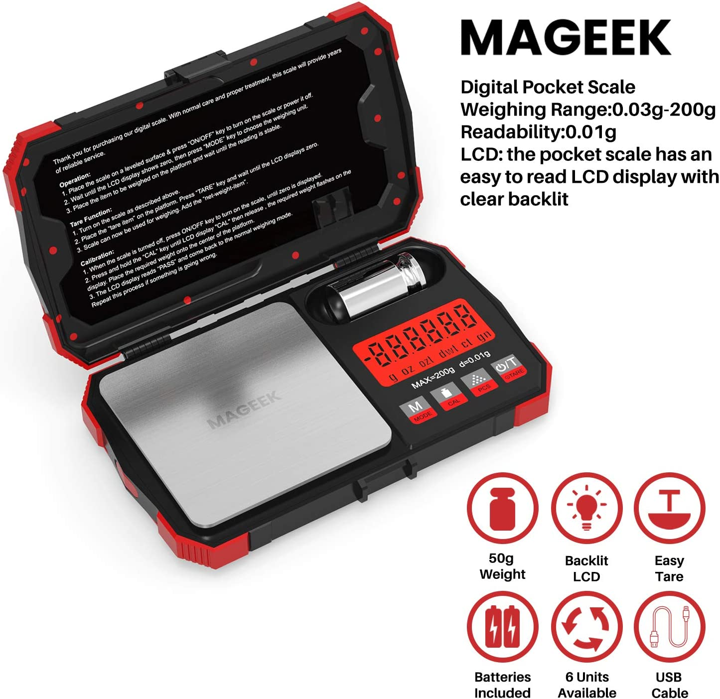 6 Units and 50G Calibration Weight Scales Digital Weight Grams Precision Small Jewelry Herb Powder Scale Gram and OZ Gram Scale with USB Charging Port Maxus Digital Pocket Scale 200g x 0.01g