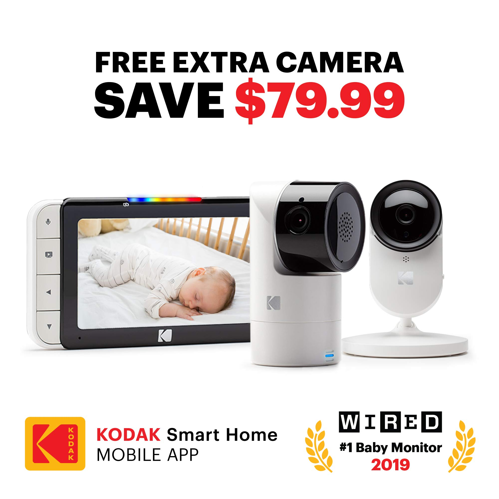 KODAK Cherish C525 Video Baby Monitor + C120 Additional Camera - with Mobile App - 5'' HD Screen - Hi-res Baby Camera with Remote Tilt, Pan and Zoom Two-Way Audio, Night-Vision, Long Range