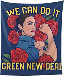 We Can Do It The Green New Deal Tapestry 3d Boutique Wall Hanging Fashion Home Decoration Wall Blanket For Dormitory Living Room Bedroom Dorm Room Home Decor Tapestry Bed Tapestry Decor 60x51in