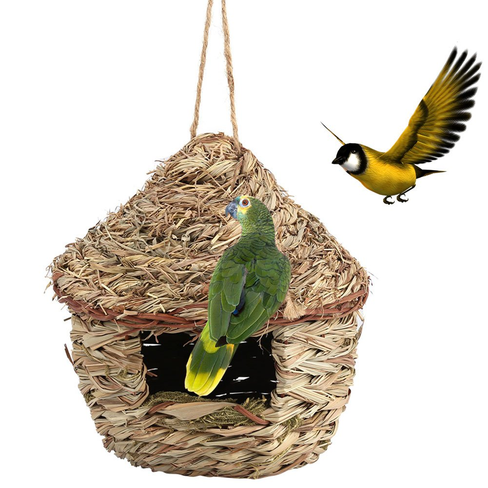Fdit Handwoven Straw Bird Nest Cage House Hatching Breeding Cave in 3 Size for Parrot, Canary or Cockatiel or Other Birds(L) by Fdit