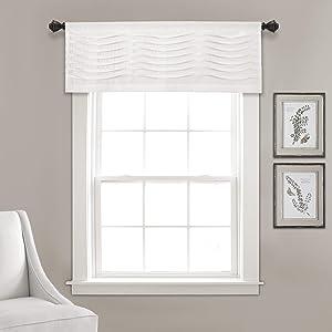 "Lush Decor, White Wave Texture Valance   Pleated Ruffle Fold Window Kitchen Curtain (Single), 18"" x 52"
