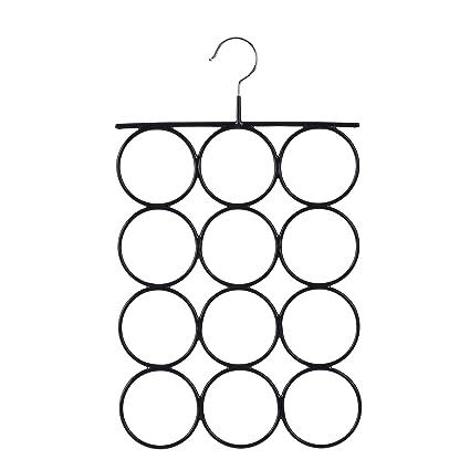 Songmics CRI22B, Organizador para Pañuelos Bufandas Percha metálica con 12 anillos 25,2 x 41,5 cm Color negro