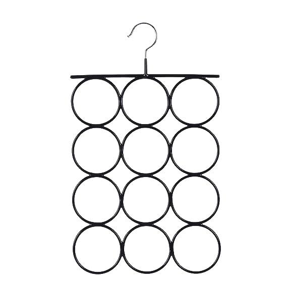 SONGMICS Organizador para Pañuelos Bufandas Percha metálica con 12 Anillos 25,2 x 41,5 cm Color Negro CRI22B