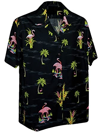 cc6b2f46 Image Unavailable. Image not available for. Color: Pink Flamingos On Black  Camp Shirt, Classic Hawaiian ...