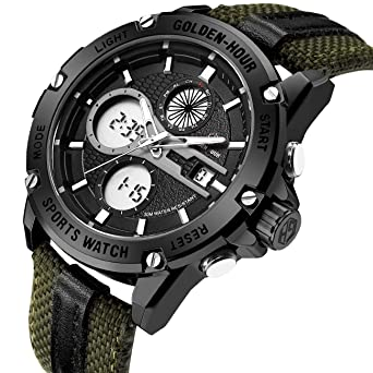 4c44f3cc9 Mens Sports Analog Digital Watches Outdoor Nylon Waterproof Army Watch,  Alarm/Timer, Big
